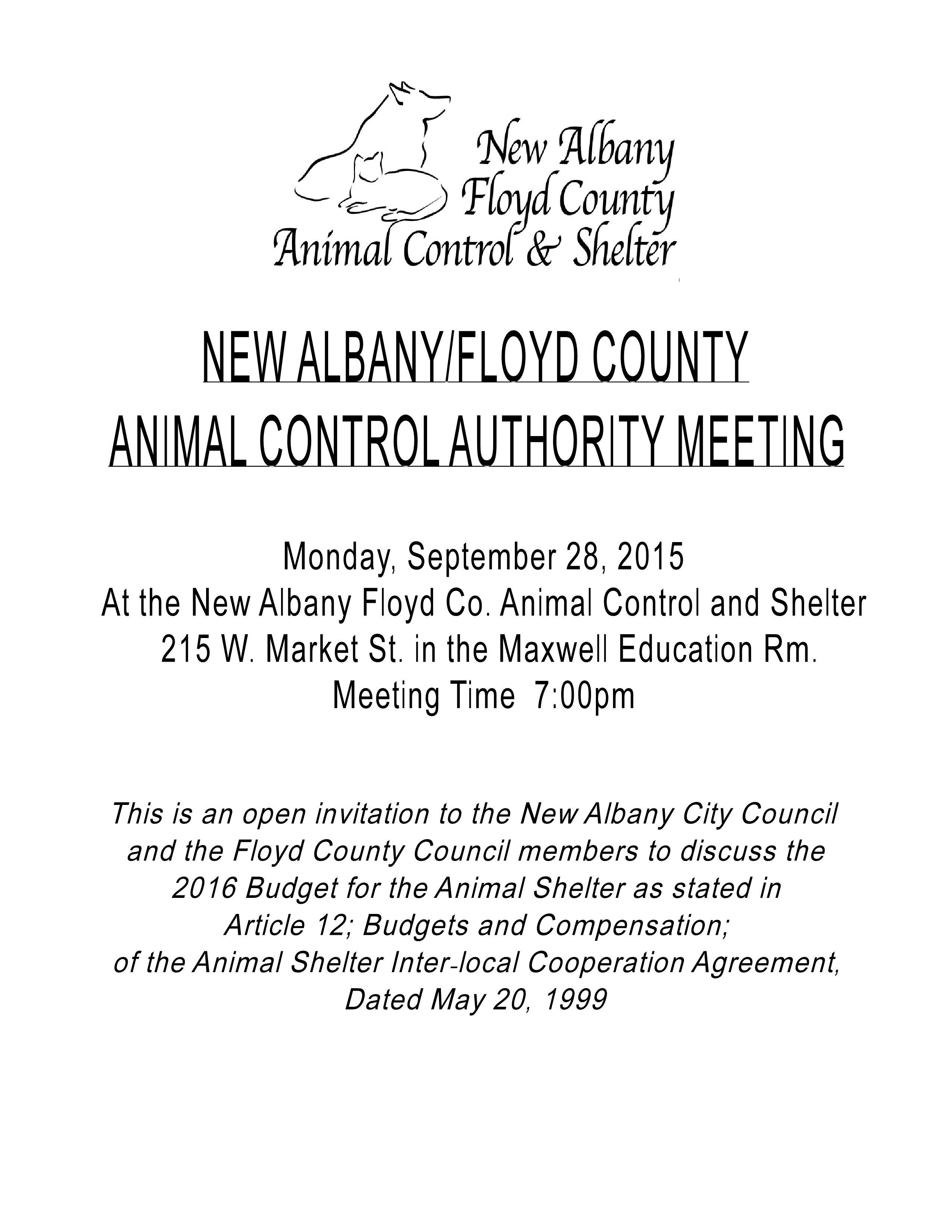 New albanyfloyd county animal shelter open invitation extended to posted in shelter events comments off on open invitation extended to council members to come together stopboris Choice Image