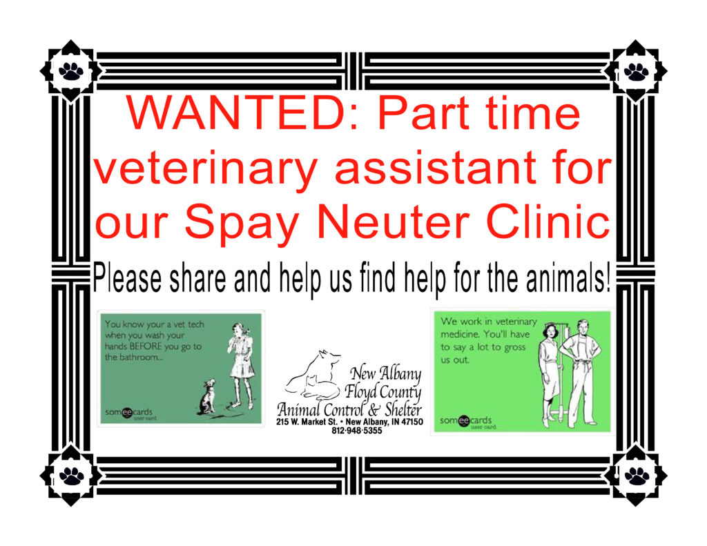 new albany floyd county animal shelter part time help needed in